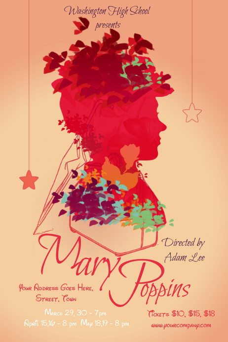 Red Mary Poppins Poster Template