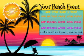 Beach Tropical Island Summer Silhouette Sunset Special Discount Ad Event Flyer