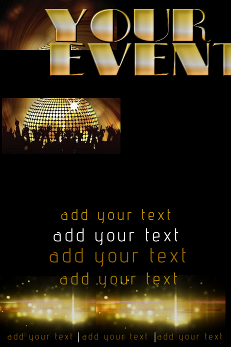 Gold Crowd Audience Bar Disco Ball Bokeh Lights Event Party Band DJ Club Flyer