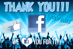 Blue Crowd Silhouette Facebook Likes Poster