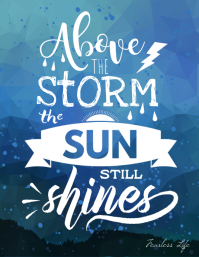 Above the storm the sun shines poster Pamflet (VSA Brief) template