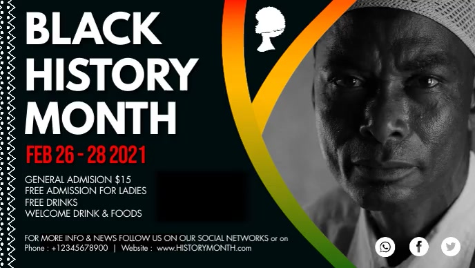 Abstract Black History Month Facebook Cover V Film w tle na Facebooka (16:9) template