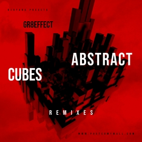 Abstract Cubes Red Mixtape CD Cover