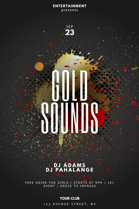 abstract gold sound party flyer template postermywall