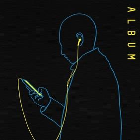 Abstract gradient neon sign album cover Okładka albumu template