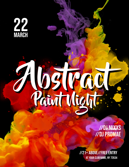 Abstract Paint Night Flyer