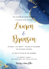 Abstract theme wedding invitation A6 template