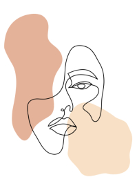 Abstract woman face line art A3 template