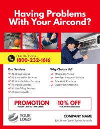 AC Repair & Services Flyer Template Volante (Carta US)