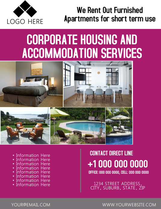 Accommodation Flyer Template