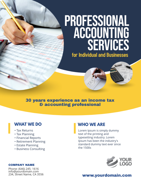 Accounting Services Flyer Poster Template Volante (Carta US)