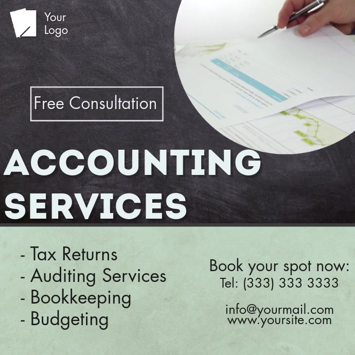 Accounting services video template Kvadrat (1:1)