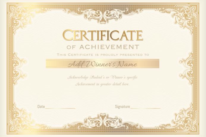 Achievement Certificate School Vocation College Class Award