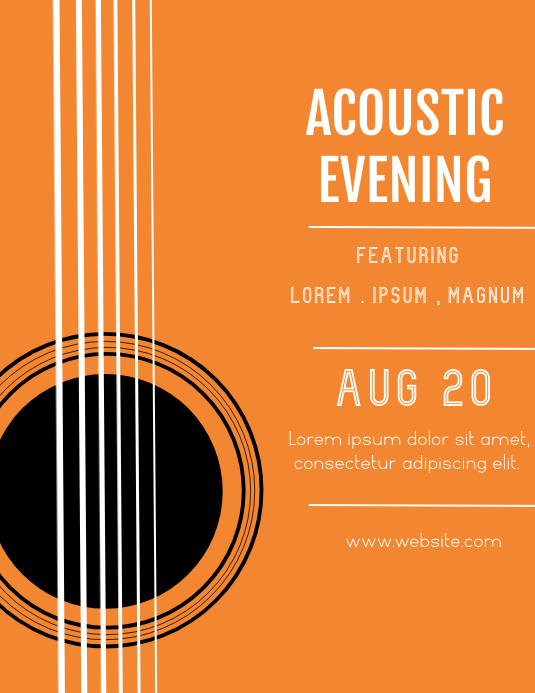 ACOUSTIC EVENING FLYER TEMPLATE Volante (Carta US)