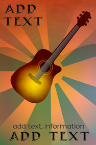 acoustic guitar at night or evening poster