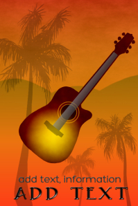acoustic guitar at twilight evening or dawn poster