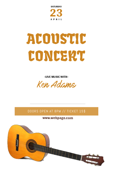acoustic guitar concert flyer template postermywall