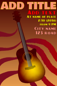 acoustic guitar instrument - playing music poster template