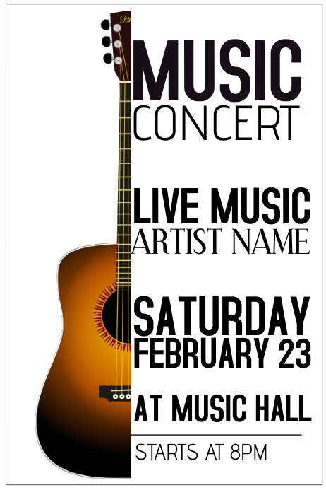 Customizable Design Templates for Guitar Concert Poster Template ...