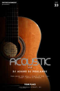 Acoustic Guitar Night Flyer Poster template