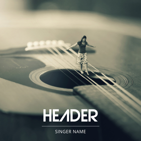 Acoustic Live Guitar album cover template