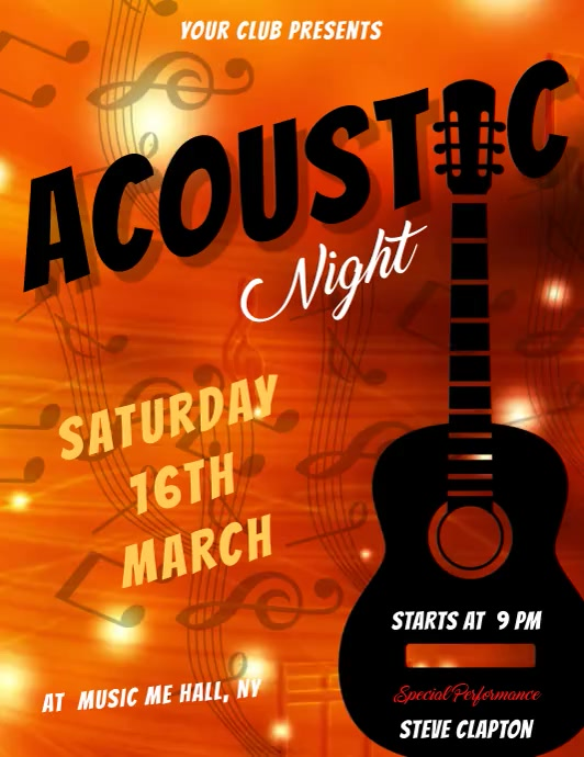 acoustic night flyer template Volantino (US Letter)