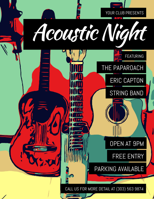 Acoustic Night Flyer Pamflet (Letter AS) template