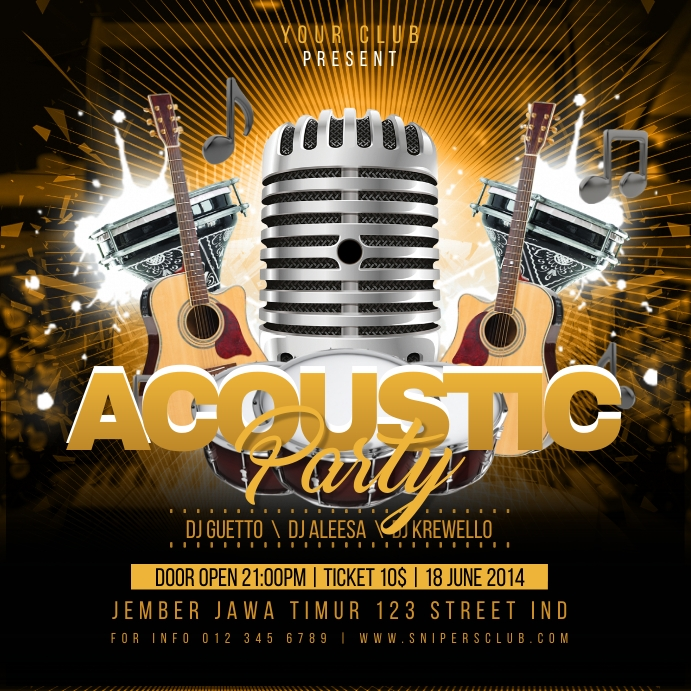 Acoustic Party Flyer Instagram na Post template
