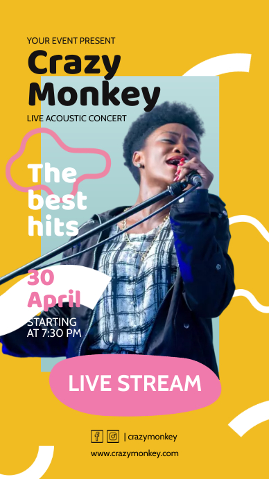 Acoustic Unplugged Pop Music Online Performan Historia de Instagram template