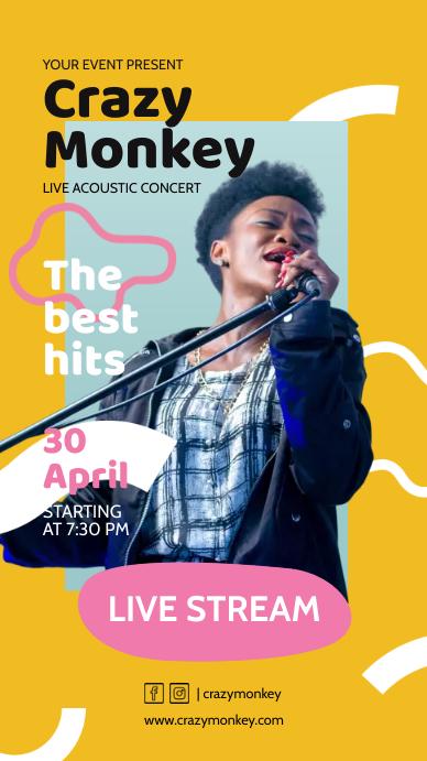 Acoustic Unplugged Pop Music Online Performan เรื่องราวบน Instagram template