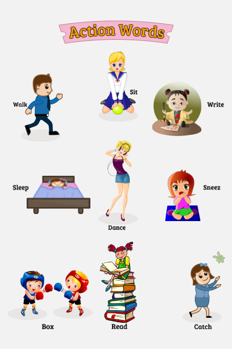 Action Words 2 海报 template