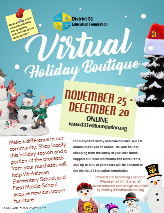 D31 2020 Holiday Boutique Flyer template