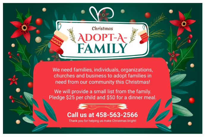 Adopt a Family for Christmas Green 海报 template