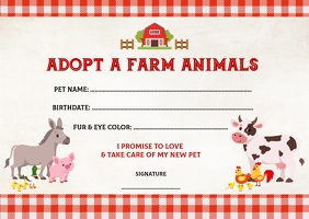 Adopt a Farm Animal Adoption Certificate