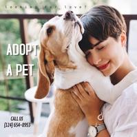 adopt a pet puppy dog adoption Instagram-opslag template