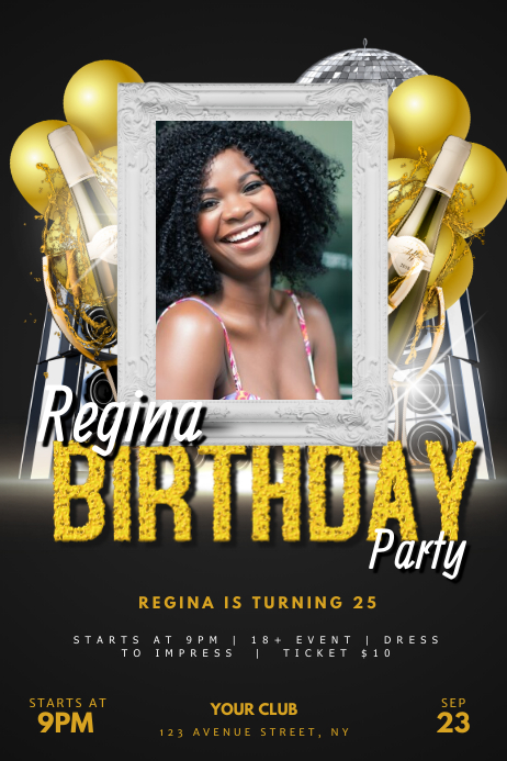 Adult Birthday Party Flyer Template for club Poster