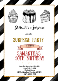 adult black and white dessert birthday A6 template