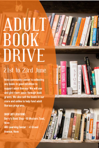 Adult Book Drive Poster Template