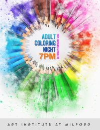 Adult coloring night flyer