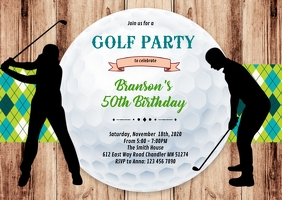 Adult golf birthday retirement invitation A6 template