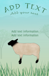 adult sheep on grass with distant hills - tabloid farming template