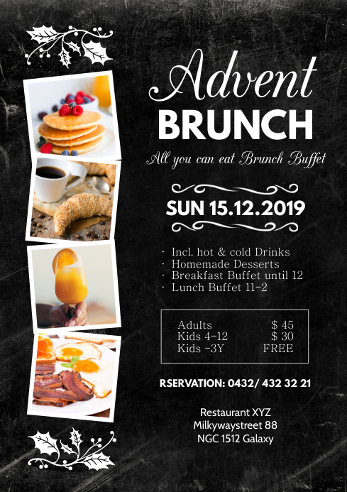 Advent Brunch Restaurant Menu Food Breakfast A4 template