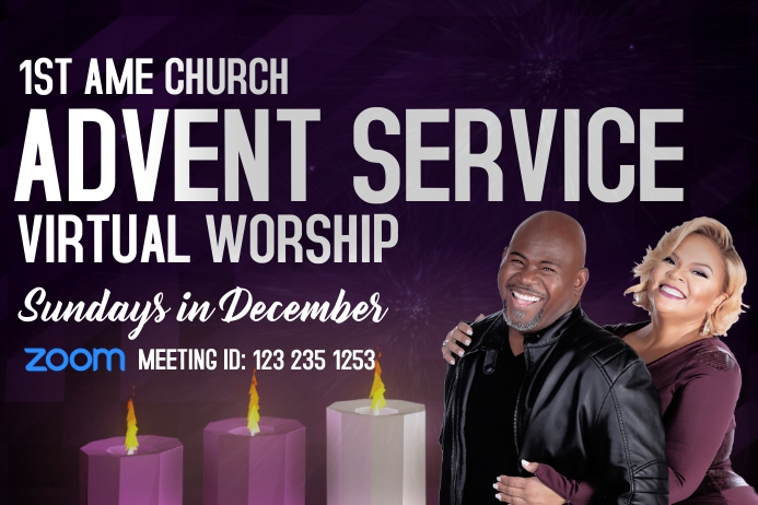 Advent Church Worship Service Poster template