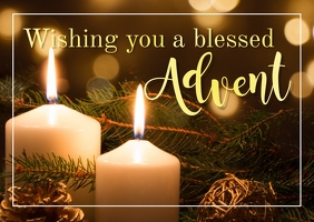 Advent Greeting Wishes Message Greeting Card Открытка template