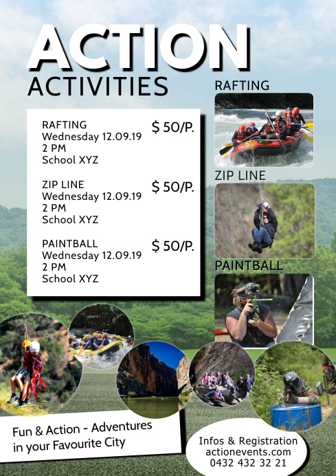 Adventure Activities Activity Sport Action Ad A4 template