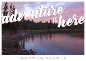 Adventure is here postcard Postal template