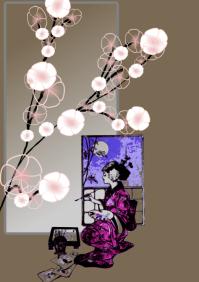 art geisha painting poster