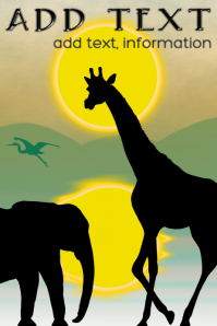 africa , giraffe, crane and elephant silhouette under sun