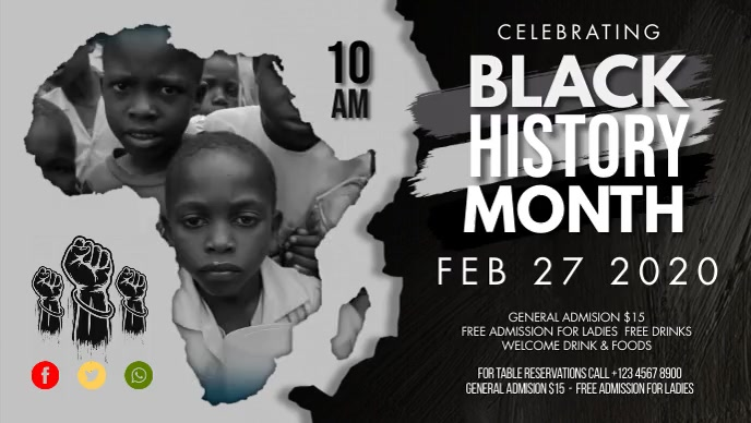 Africa Map Black History Month Facebook Cover Film w tle na Facebooka (16:9) template