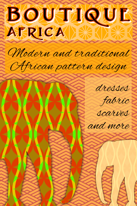 african boutique -patterns and elephants in orange warm colors